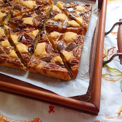 Pecan Nut & Dark Chocolate Caramel Slice