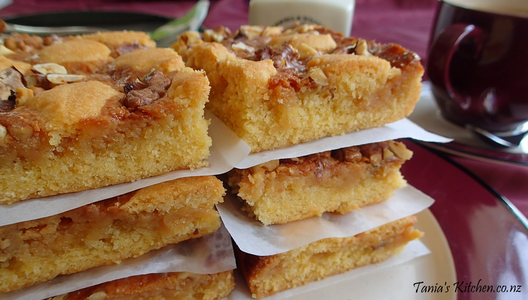 ... with gooey caramel and topped with crispy, golden, toasted walnuts