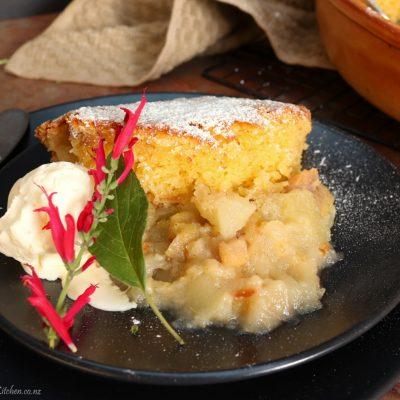 Feijoa & Apple, Almond Sponge Pudding