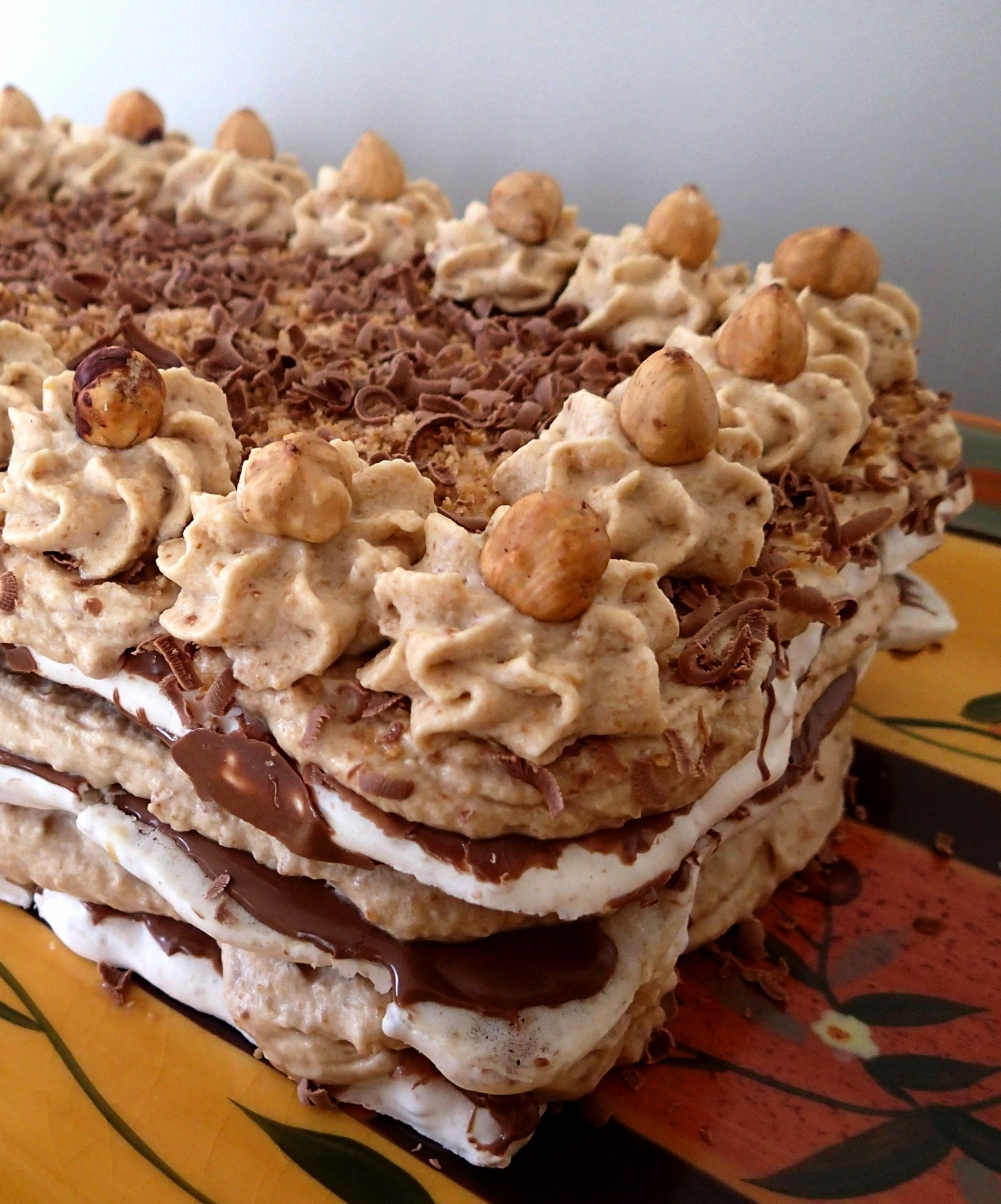 ... and filled with toasted hazelnut mocha cream. A popular Dutch dessert