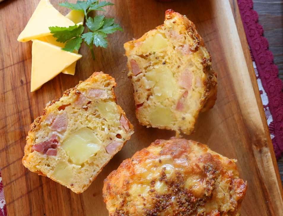 Potato, Ham, Cheddar & Mustard Muffins