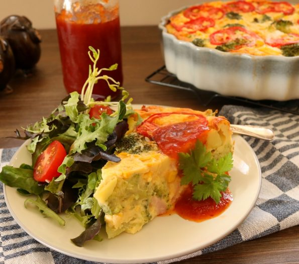 Potato, Ham & Broccoli, Self-Crusting Quiche