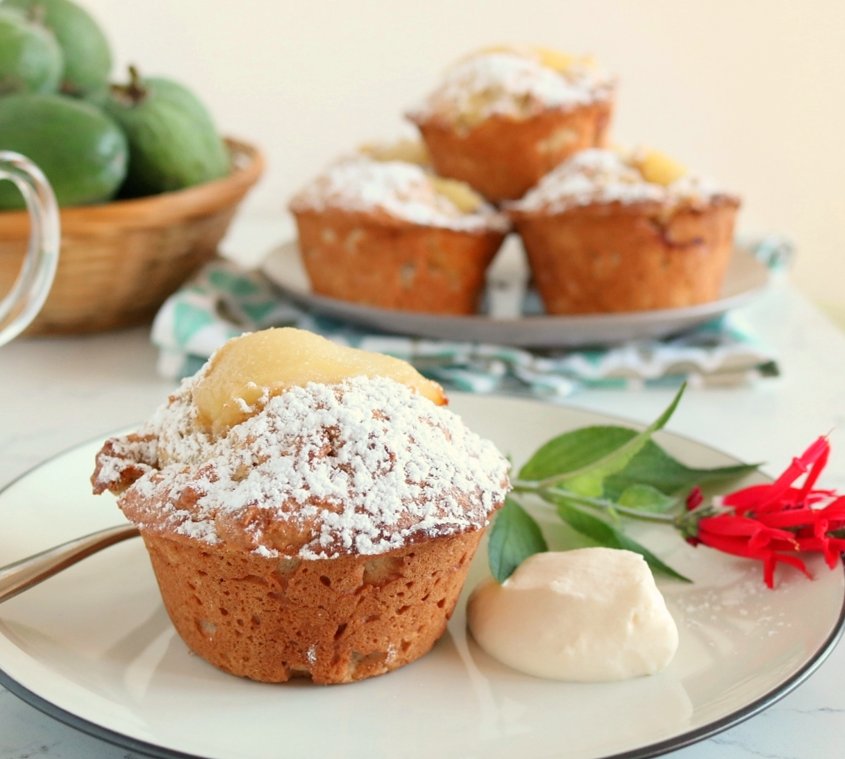 Spiced Feijoa & Pear Muffins