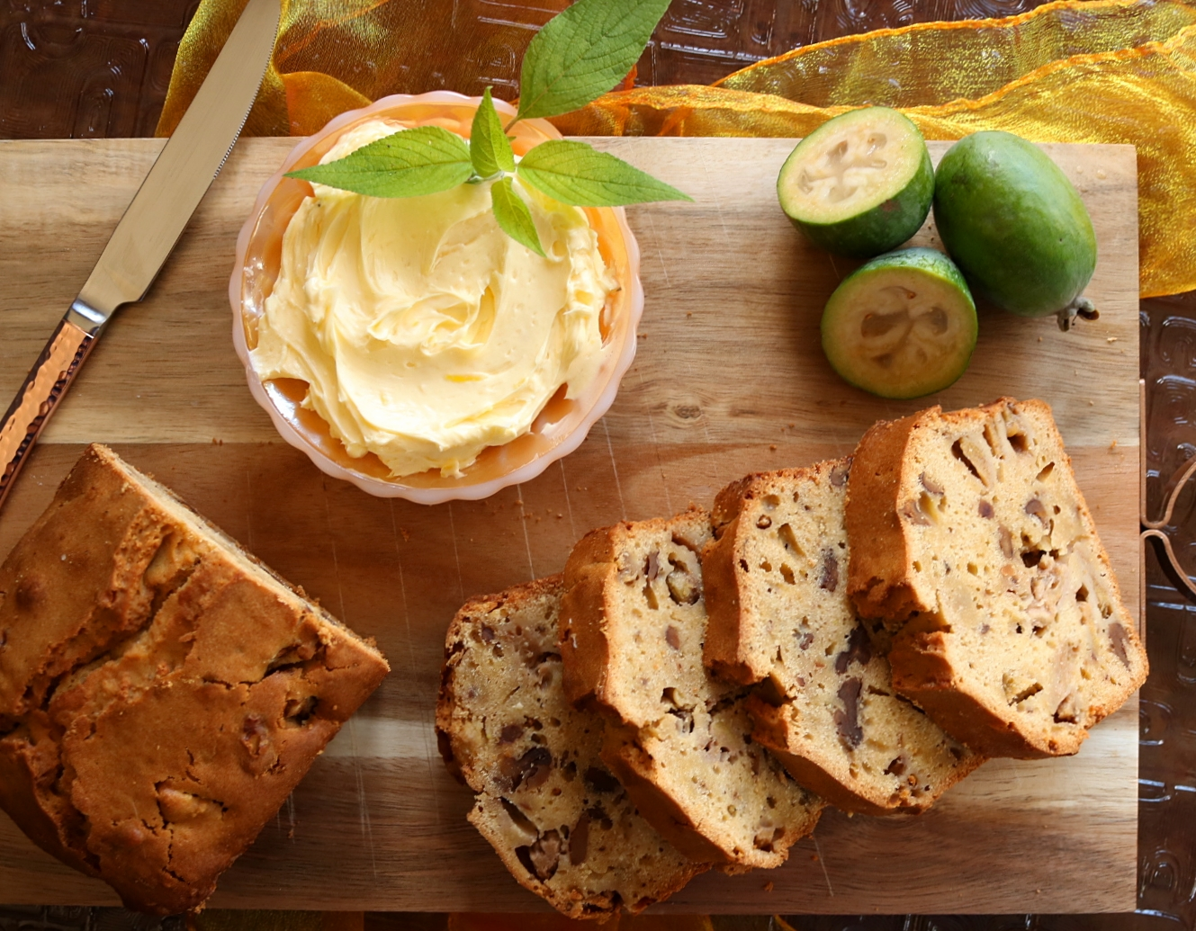 Feijoa & Walnut Gingerbread Loaf with Lemon Butter