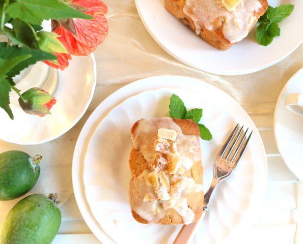 Baby Feijoa & Crispy Walnut Gingerbread Loaves