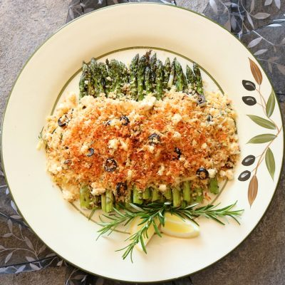 Chargrilled Asparagus under Olive & Feta, Parmesan Crumbs
