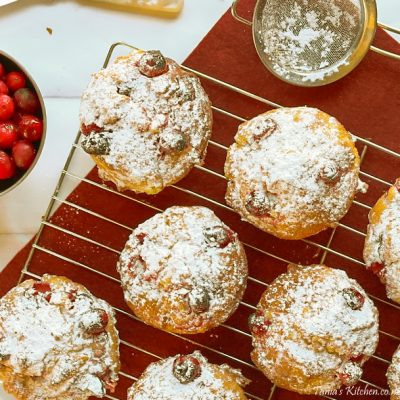 cranberry & white chocolate muffins