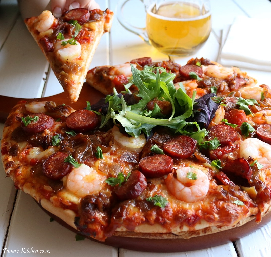 Prawn, Chorizo & Caramelised Onion Pizza