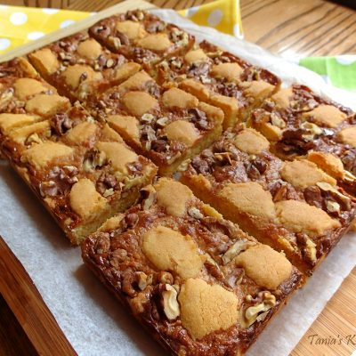 Crispy Walnut, Caramel Slice