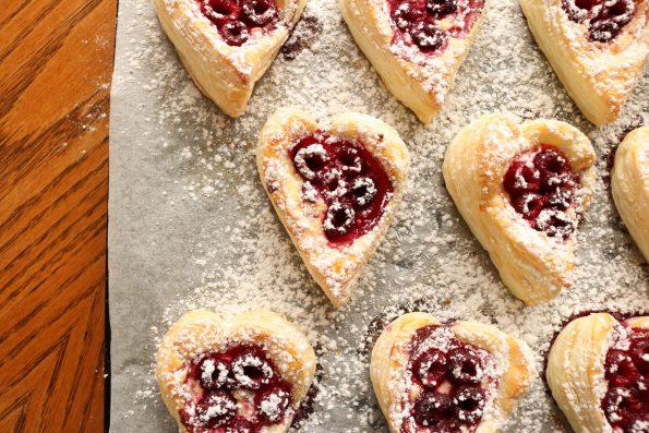 raspberry puff hearts