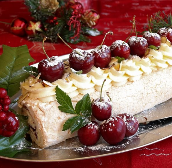 Cherry & Mascarpone Cream Pavlova Roulade