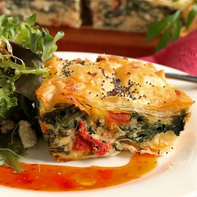 spinach, feta & sun dried tomato filo pie