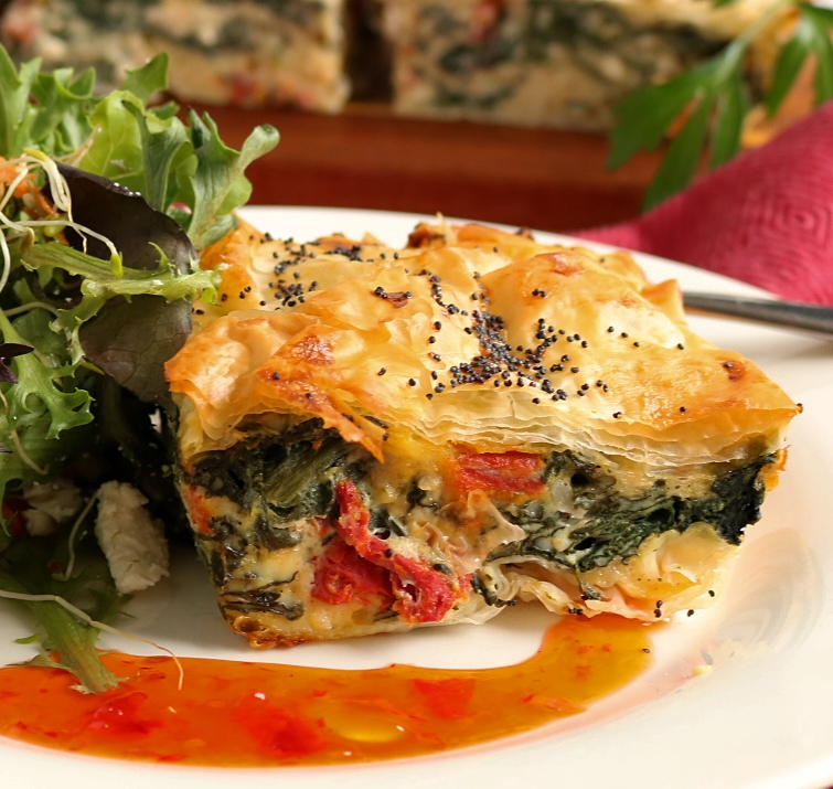 Flakey Spinach, Feta & Sun Dried Tomato, Filo Pie
