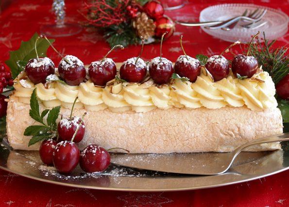 Cherry & Marscapone Cream Pavalova Roll