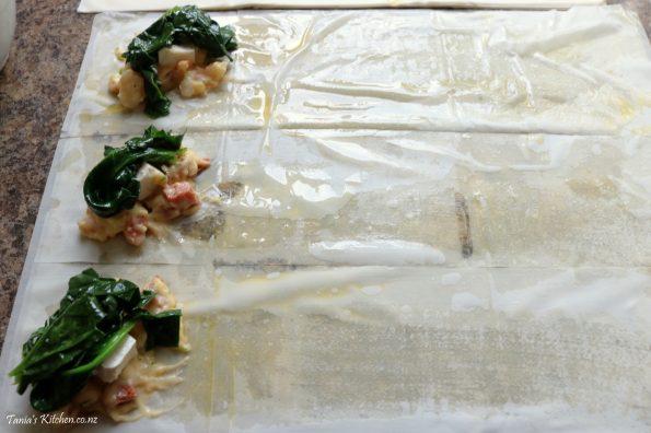 chorizo & prawn spanakopitas