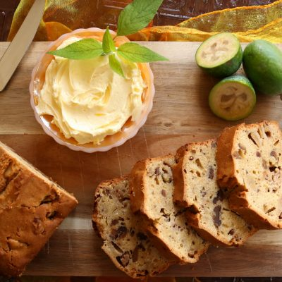 Feijoa & Walnut Gingerbread with Lemon Butter