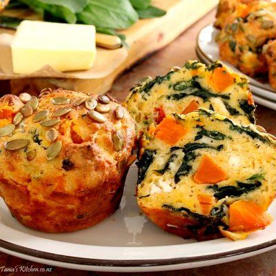 pumpkin, spinach & feta muffins