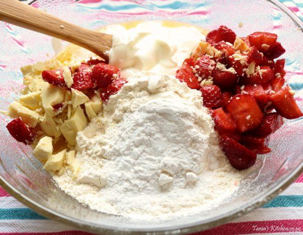strawberry & white chocolate muffins