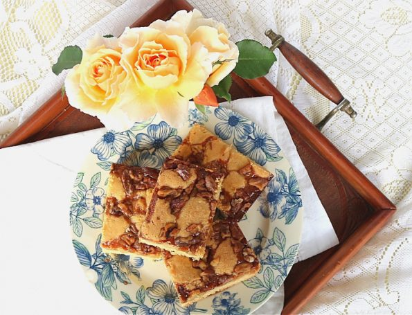 walnut caramel slice