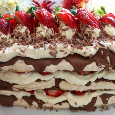 Strawberry Hazelnut Meringue Cake